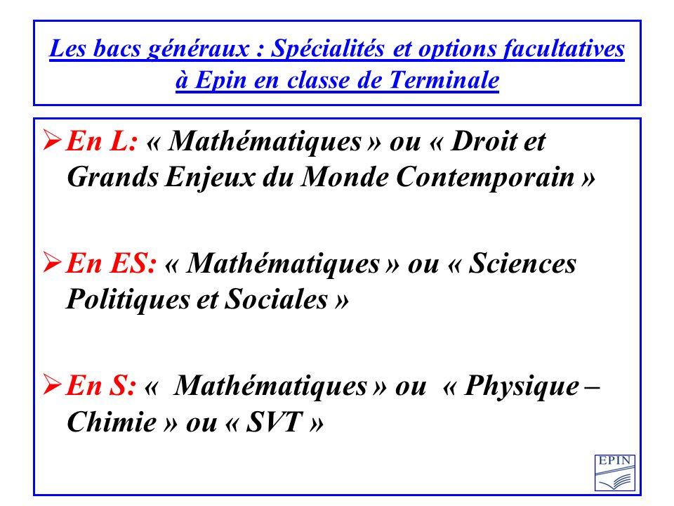 En ES: « Mathématiques » ou « Sciences Politiques et Sociales »