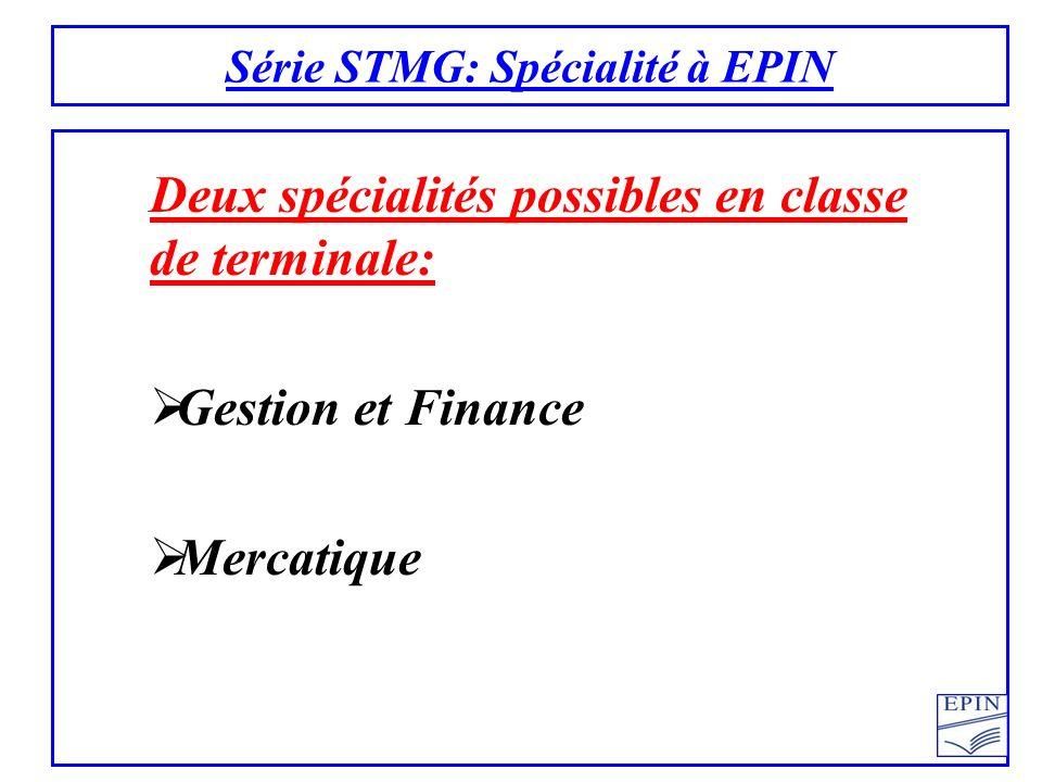 Série STMG: Spécialité à EPIN