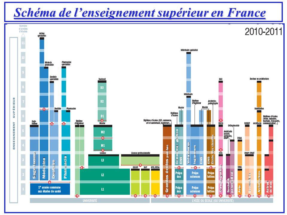 Schéma de l'enseignement supérieur en France