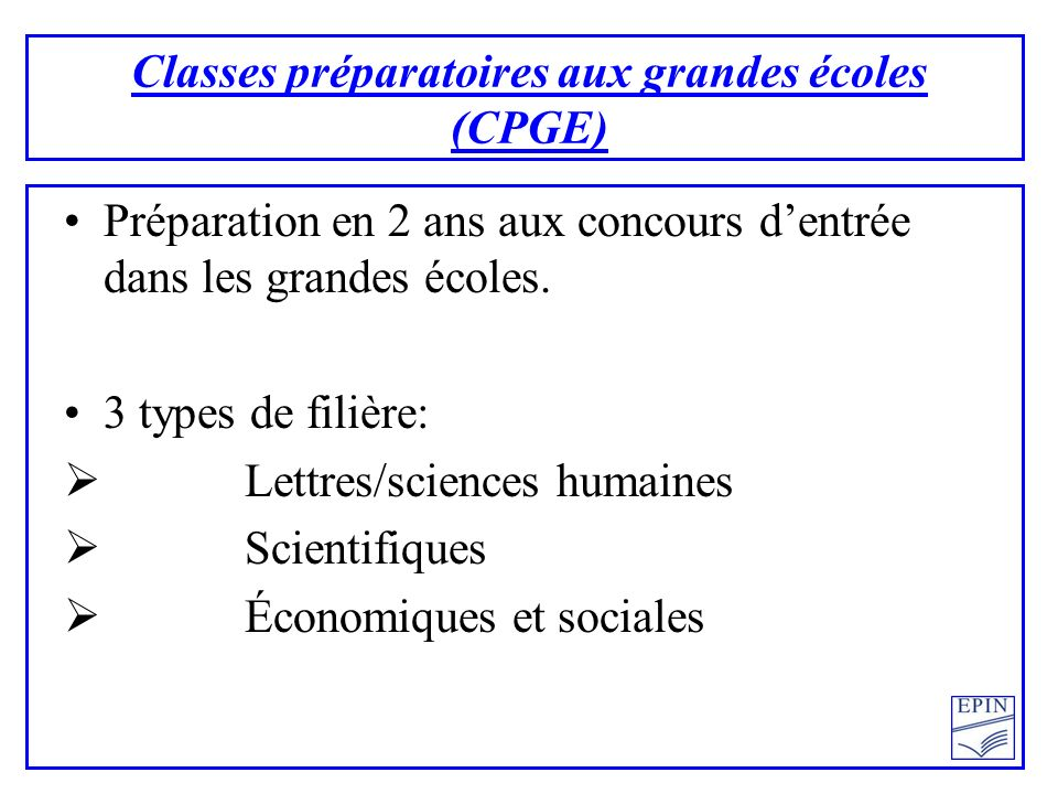 Classes préparatoires aux grandes écoles (CPGE)