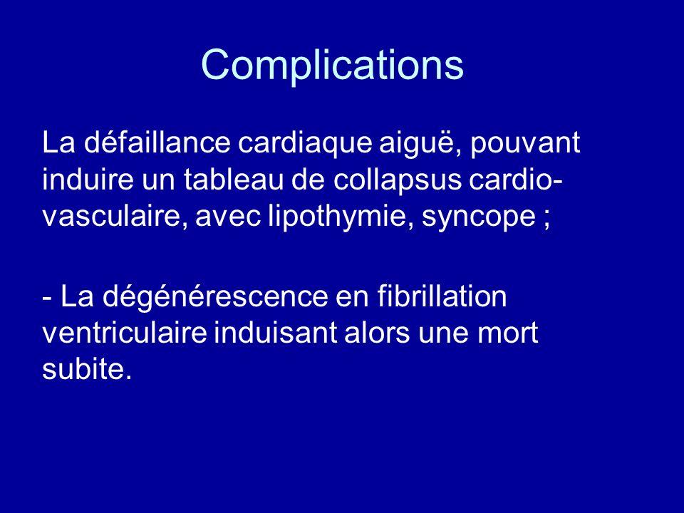 Complications La défaillance cardiaque aiguë, pouvant induire un tableau de collapsus cardio-vasculaire, avec lipothymie, syncope ;