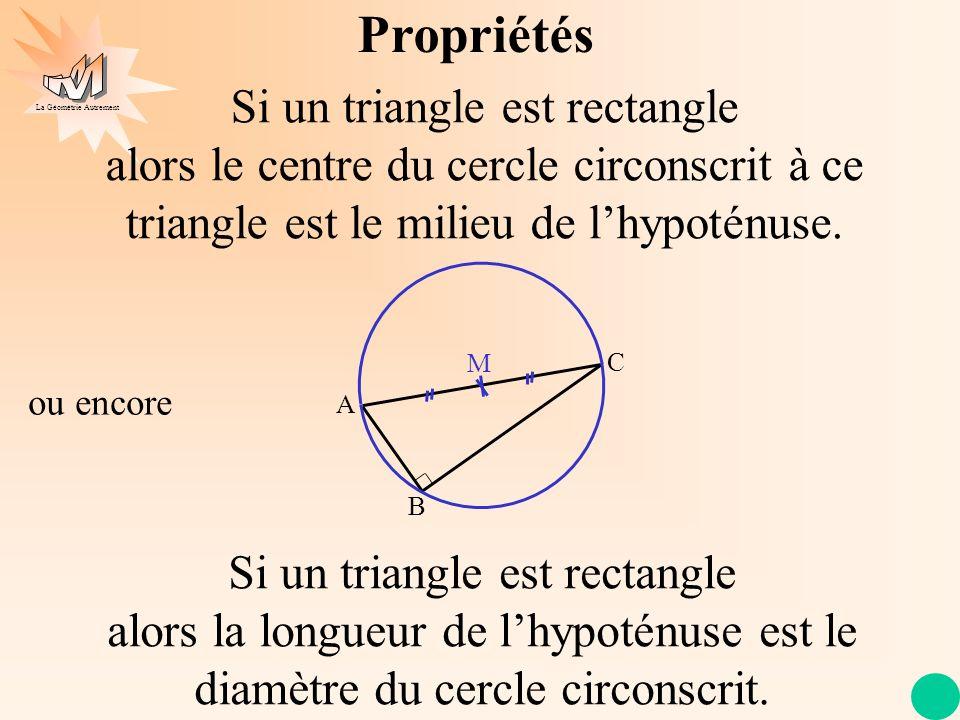 Propriétés Si un triangle est rectangle alors le centre du cercle circonscrit à ce triangle est le milieu de l'hypoténuse.