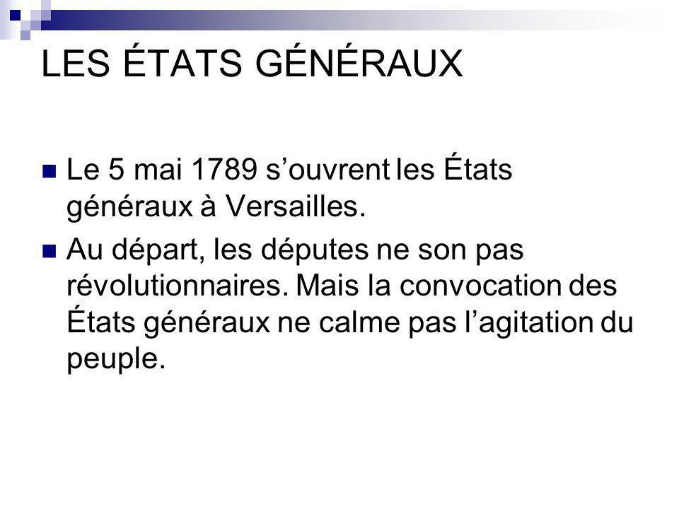 LES ÉTATS GÉNÉRAUX Le 5 mai 1789 s'ouvrent les États généraux à Versailles.