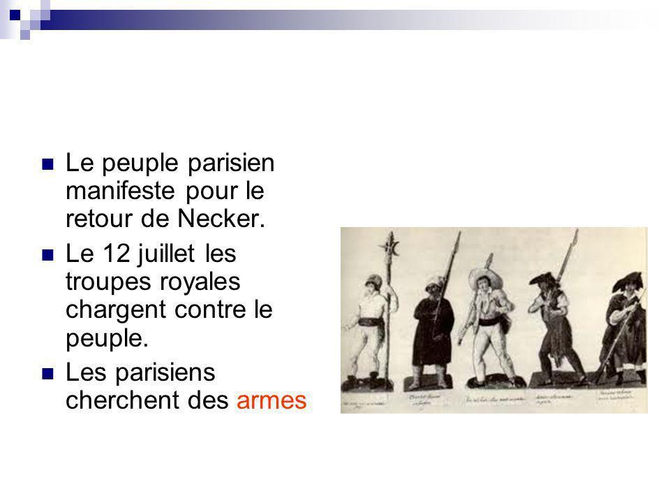 Le peuple parisien manifeste pour le retour de Necker.