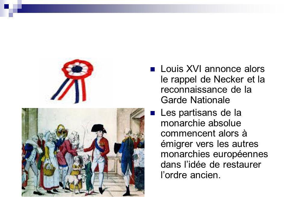 Louis XVI annonce alors le rappel de Necker et la reconnaissance de la Garde Nationale