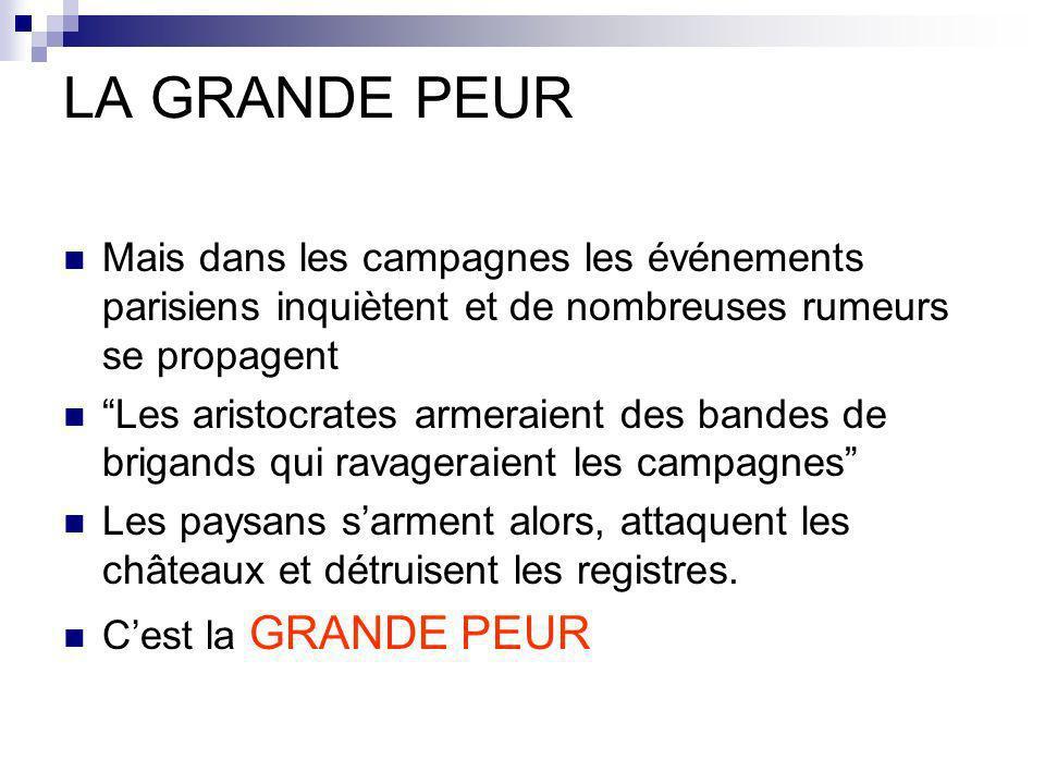 LA GRANDE PEUR Mais dans les campagnes les événements parisiens inquiètent et de nombreuses rumeurs se propagent.