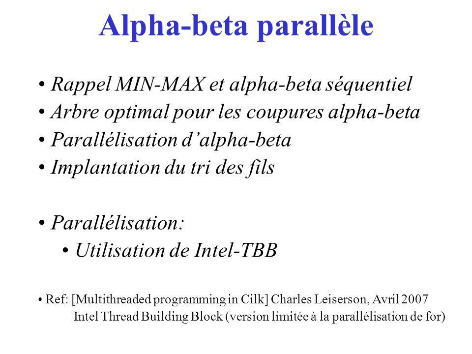 Alpha-beta parallèle Rappel MIN-MAX et alpha-beta séquentiel