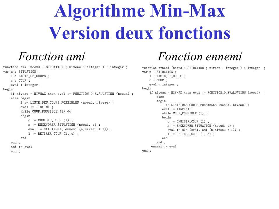 Algorithme Min-Max Version deux fonctions