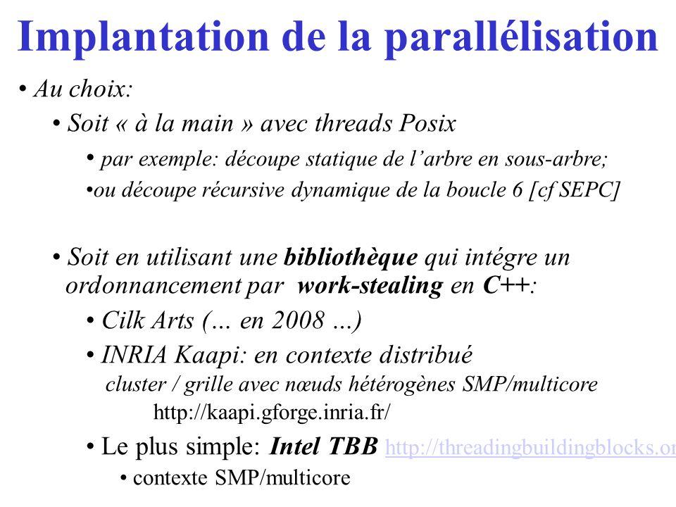 Implantation de la parallélisation
