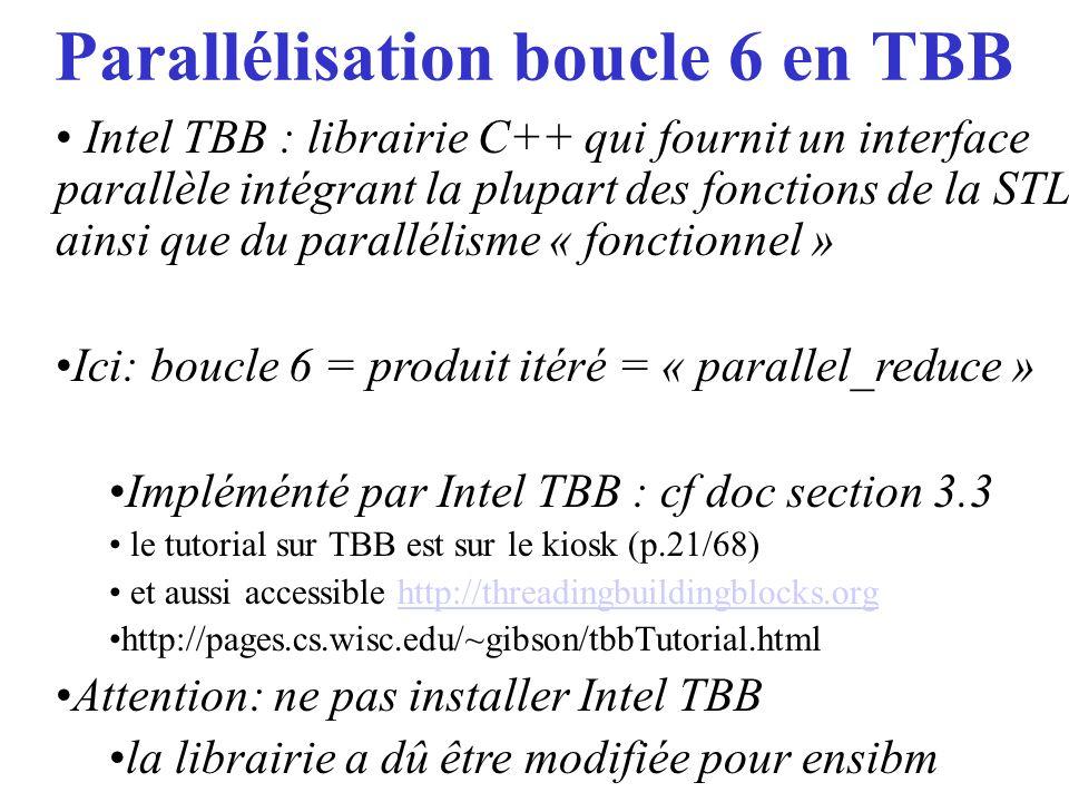 Parallélisation boucle 6 en TBB
