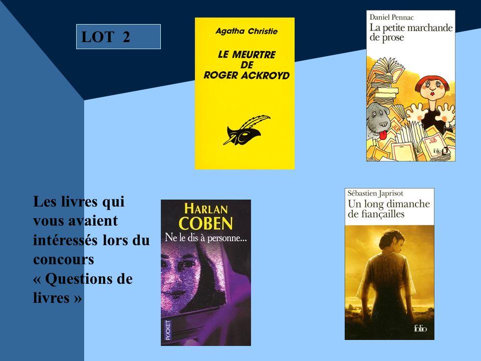 LOT 2 Les livres qui vous avaient intéressés lors du concours « Questions de livres »