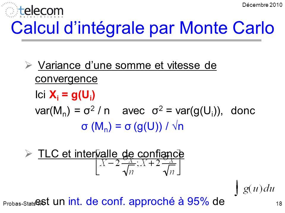 Calcul d'intégrale par Monte Carlo
