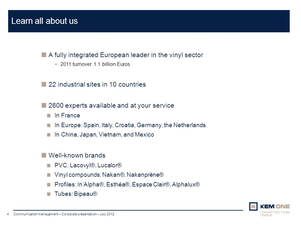 Learn all about us A fully integrated European leader in the vinyl sector. 2011 turnover: 1.1 billion Euros.