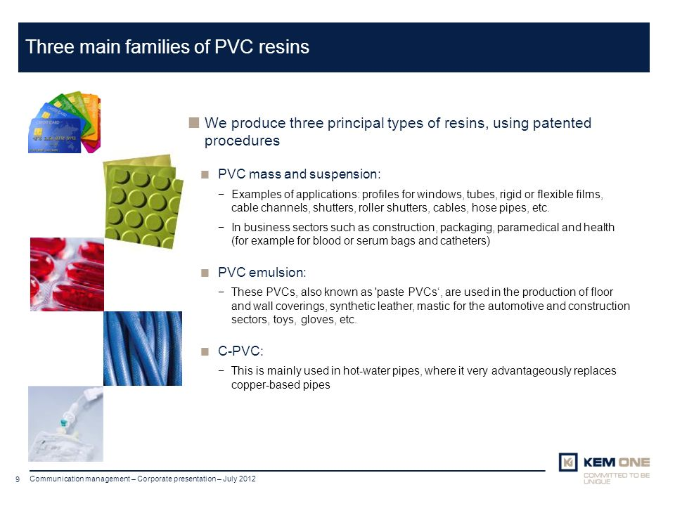 Three main families of PVC resins