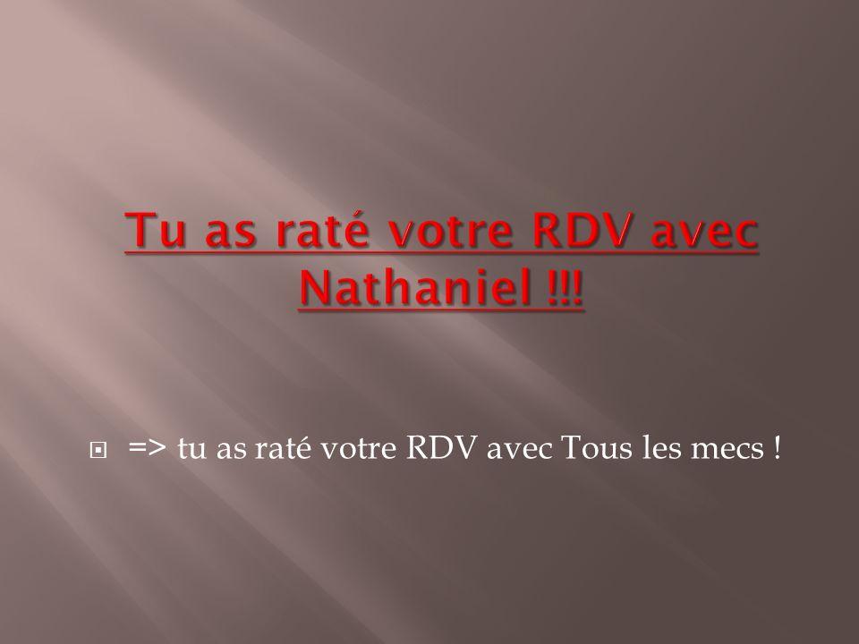 Tu as raté votre RDV avec Nathaniel !!!