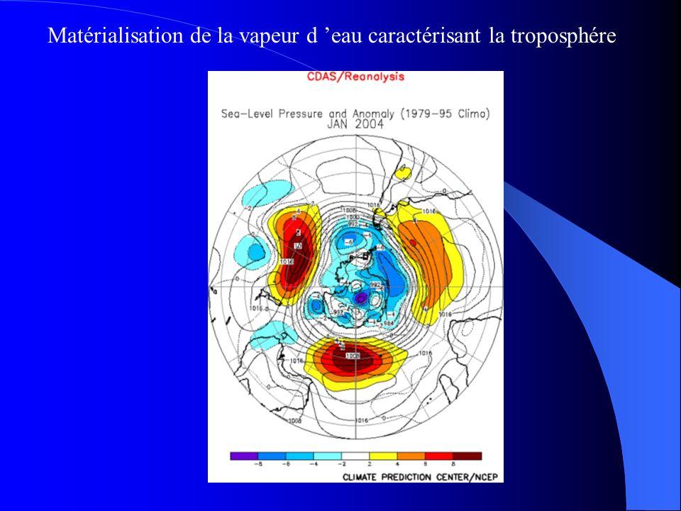 Matérialisation de la vapeur d 'eau caractérisant la troposphére
