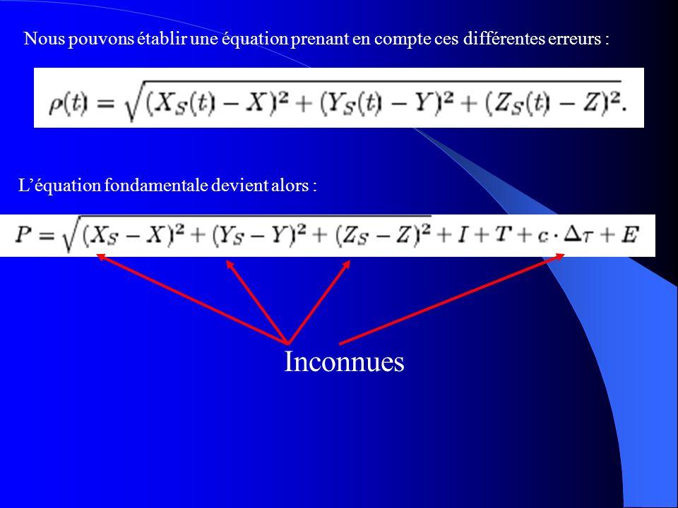 Nous pouvons établir une équation prenant en compte ces différentes erreurs :