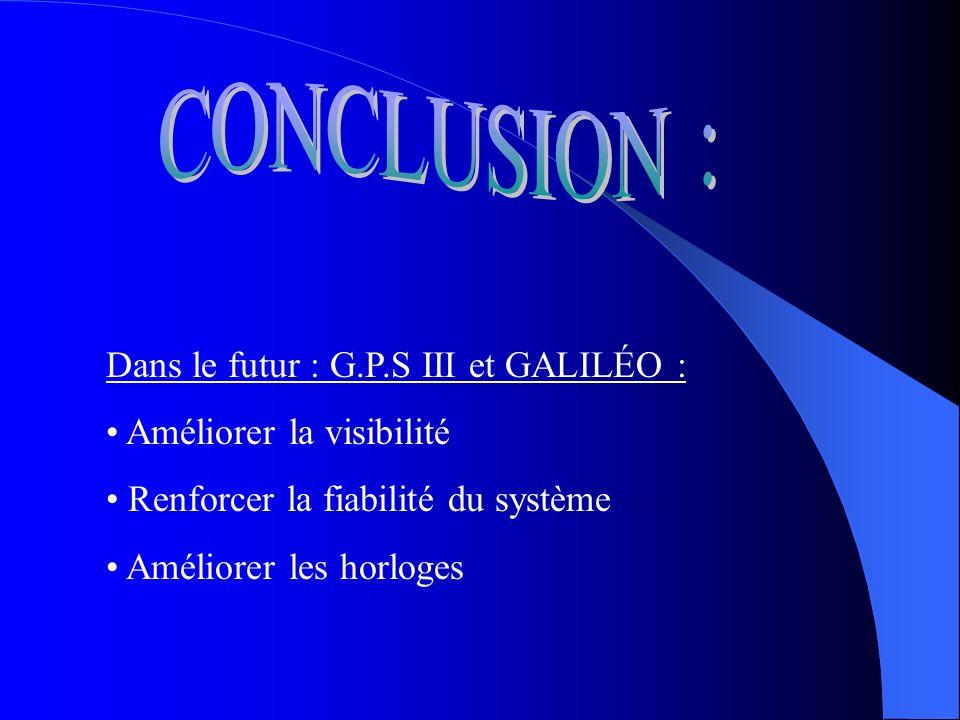 CONCLUSION : Dans le futur : G.P.S III et GALILÉO :
