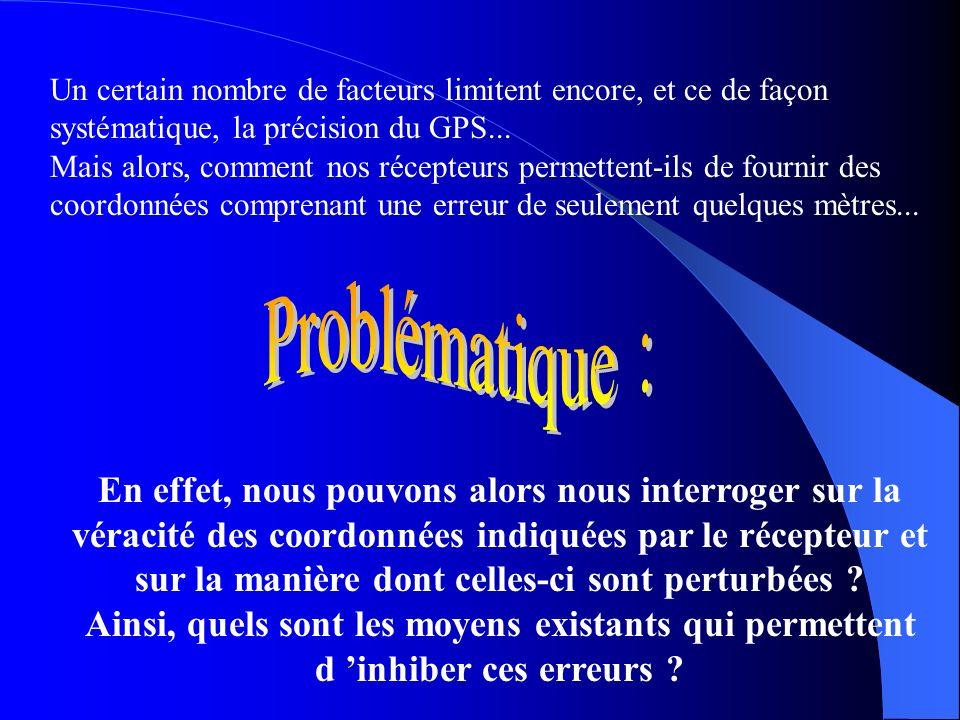 Un certain nombre de facteurs limitent encore, et ce de façon systématique, la précision du GPS...