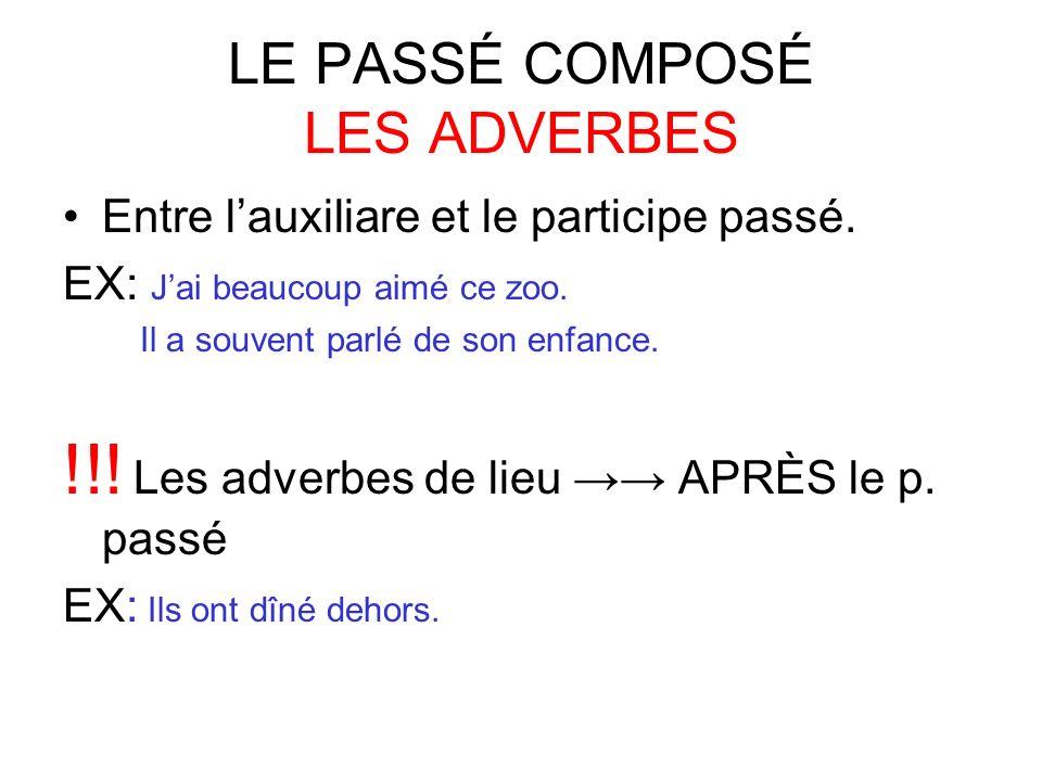 LE PASSÉ COMPOSÉ LES ADVERBES