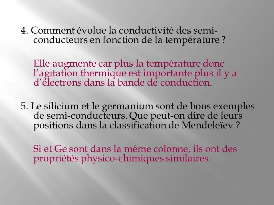 4. Comment évolue la conductivité des semi-conducteurs en fonction de la température