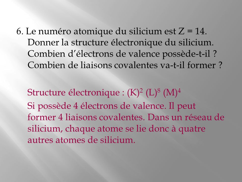 6. Le numéro atomique du silicium est Z = 14