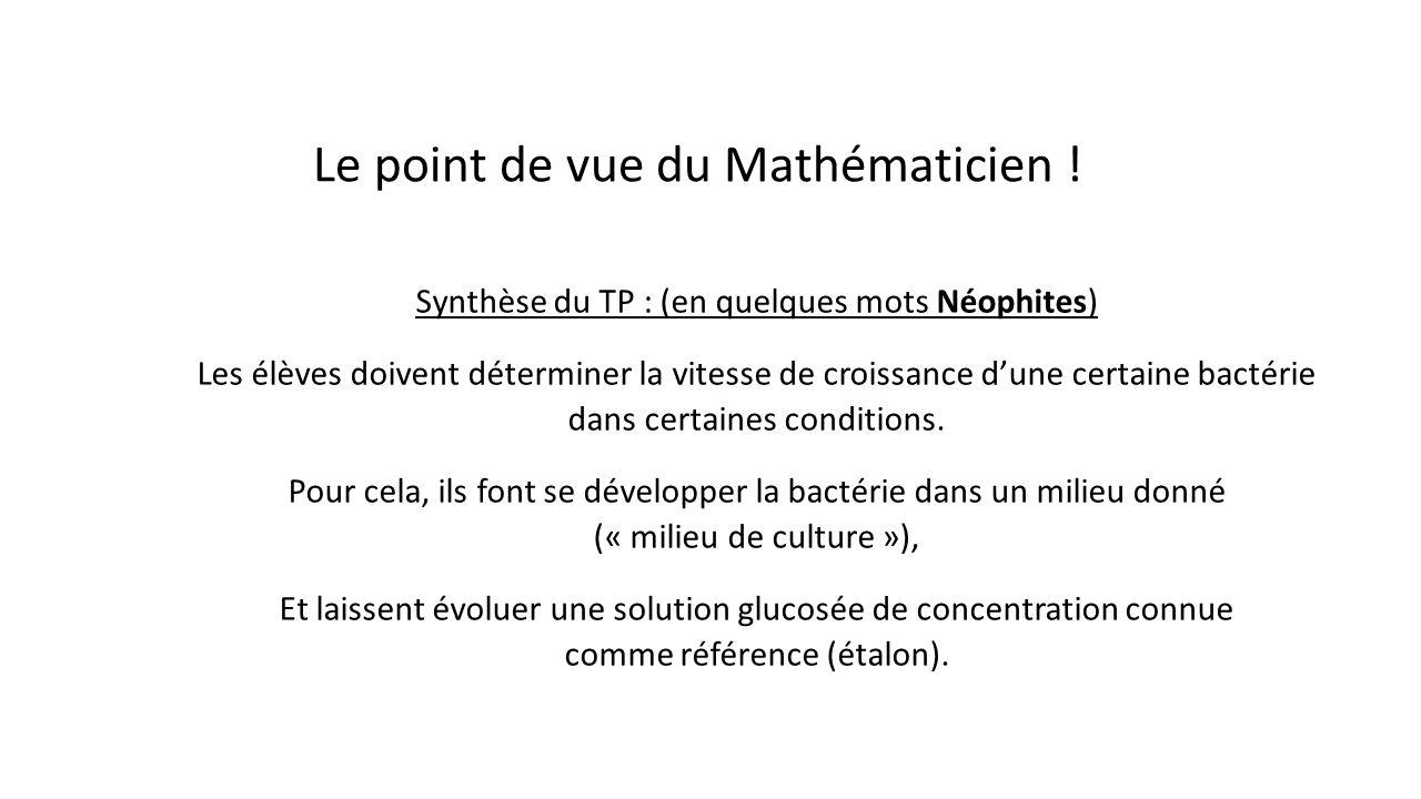 Le point de vue du Mathématicien !