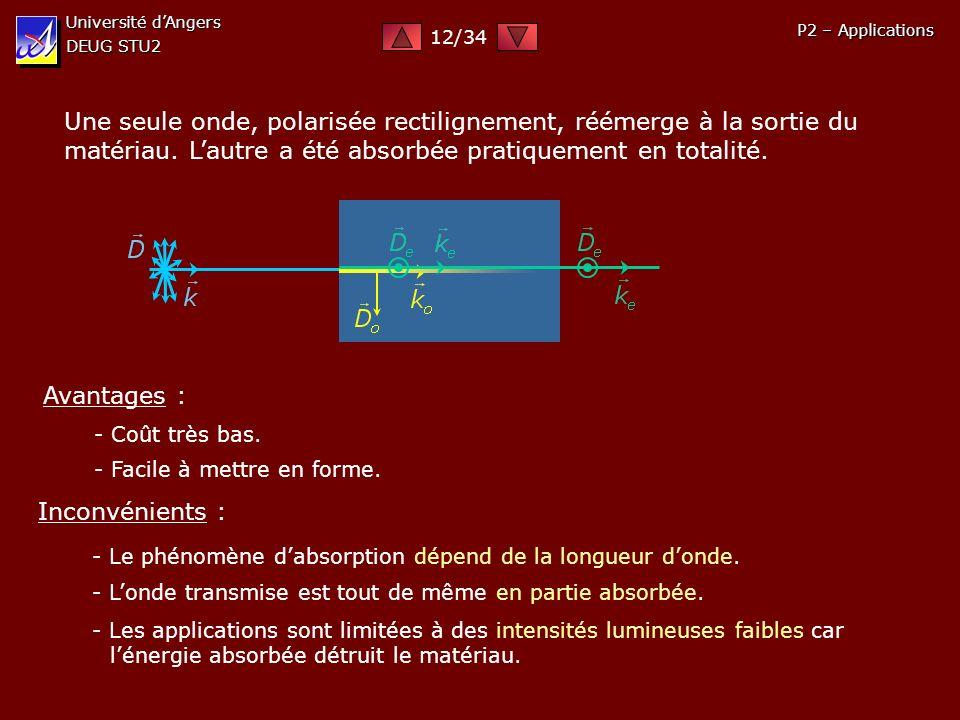 Université d'Angers DEUG STU2. 12/34. P2 – Applications.