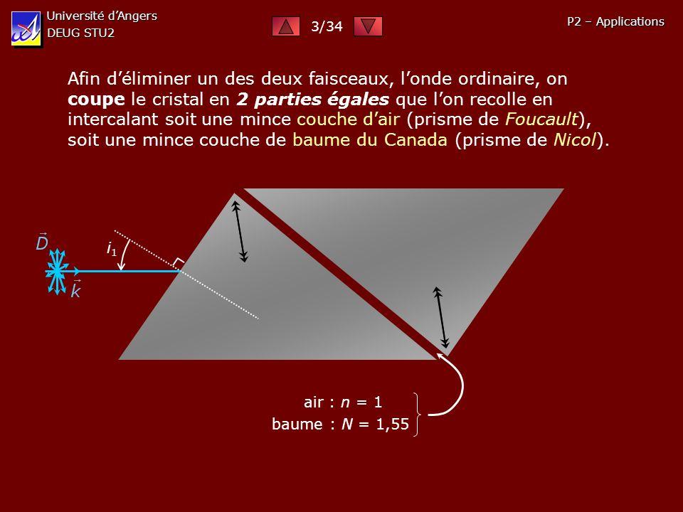 Université d'Angers DEUG STU2. 3/34. P2 – Applications.