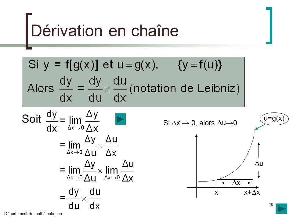 Dérivation en chaîne Soit x x+x u x u=g(x) Si x  0, alors u0