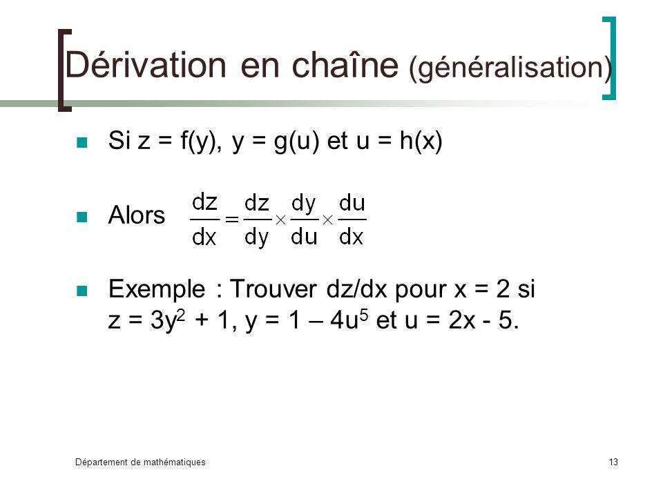 Dérivation en chaîne (généralisation)