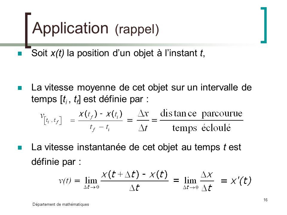 Application (rappel) Soit x(t) la position d'un objet à l'instant t,