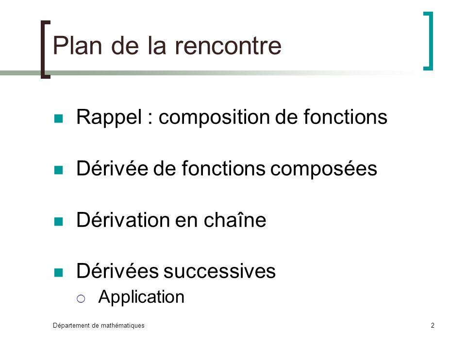 Plan de la rencontre Rappel : composition de fonctions