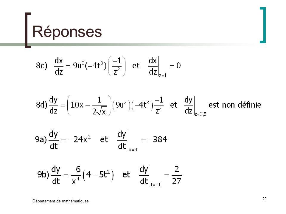 Réponses Département de mathématiques