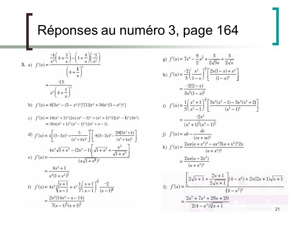 Réponses au numéro 3, page 164