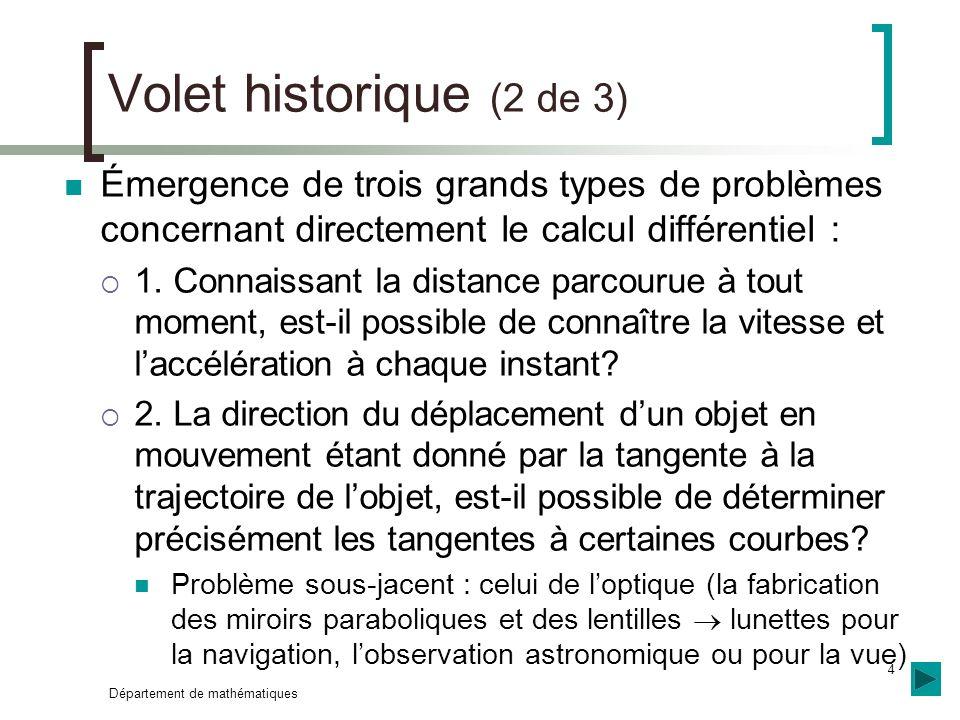 Volet historique (2 de 3) Émergence de trois grands types de problèmes concernant directement le calcul différentiel :