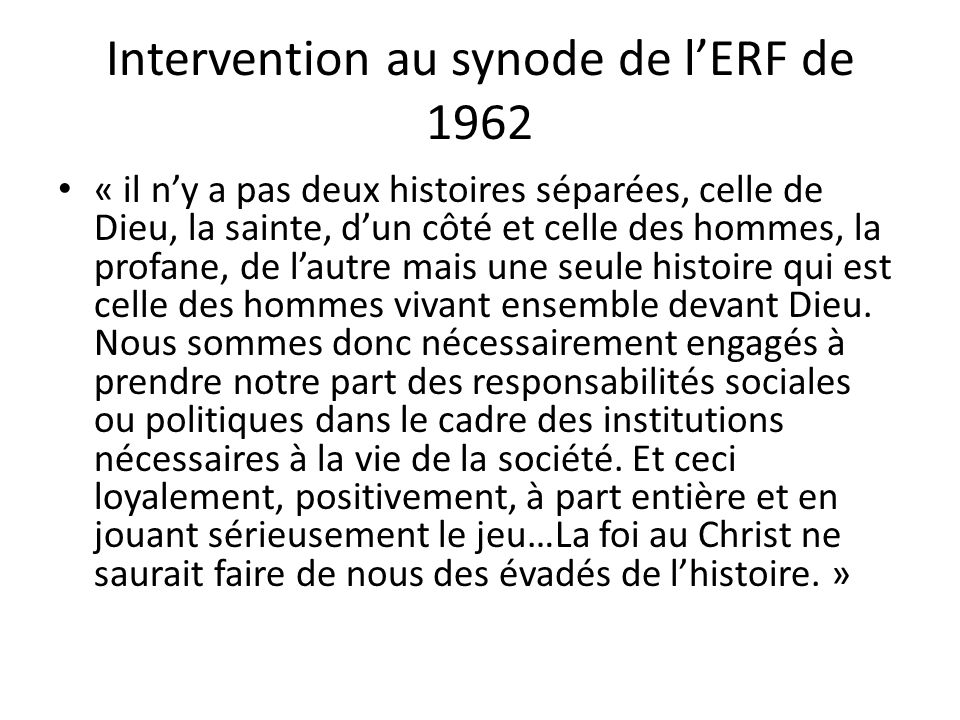 Intervention au synode de l'ERF de 1962