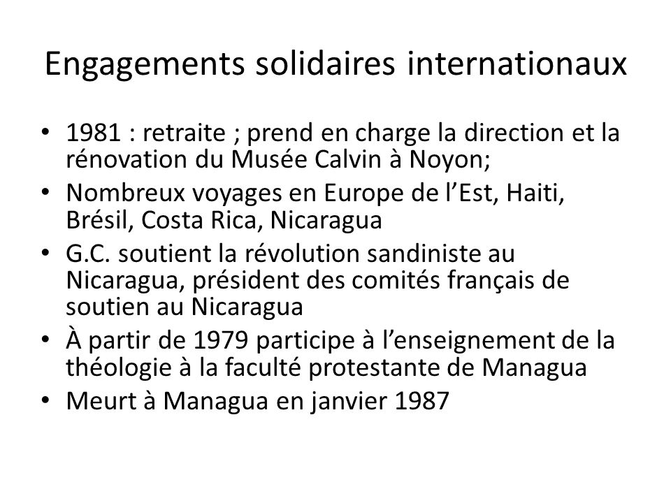 Engagements solidaires internationaux