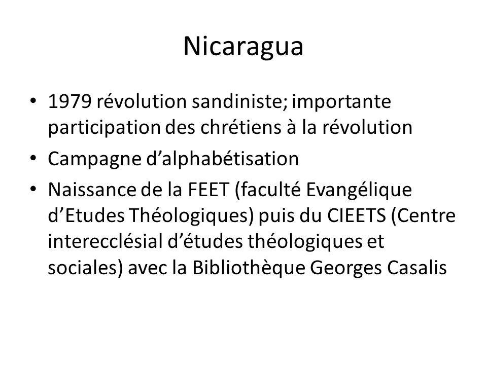 Nicaragua 1979 révolution sandiniste; importante participation des chrétiens à la révolution. Campagne d'alphabétisation.