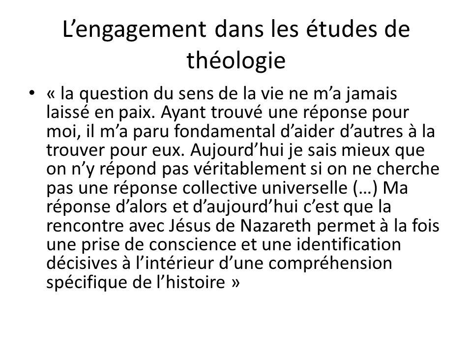 L'engagement dans les études de théologie