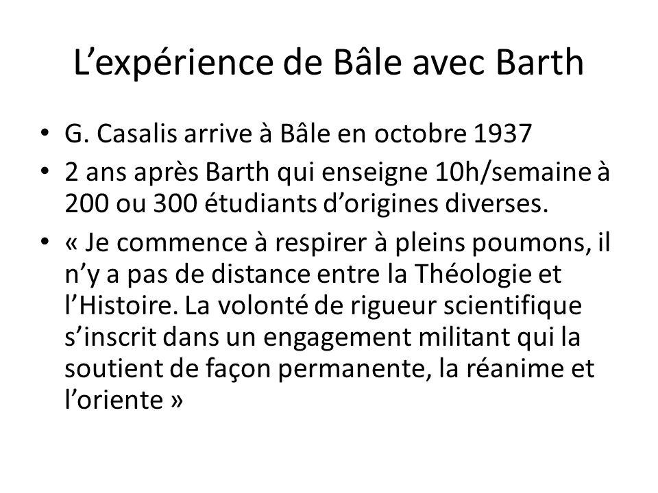 L'expérience de Bâle avec Barth