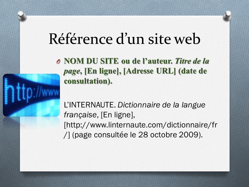 Référence d'un site web