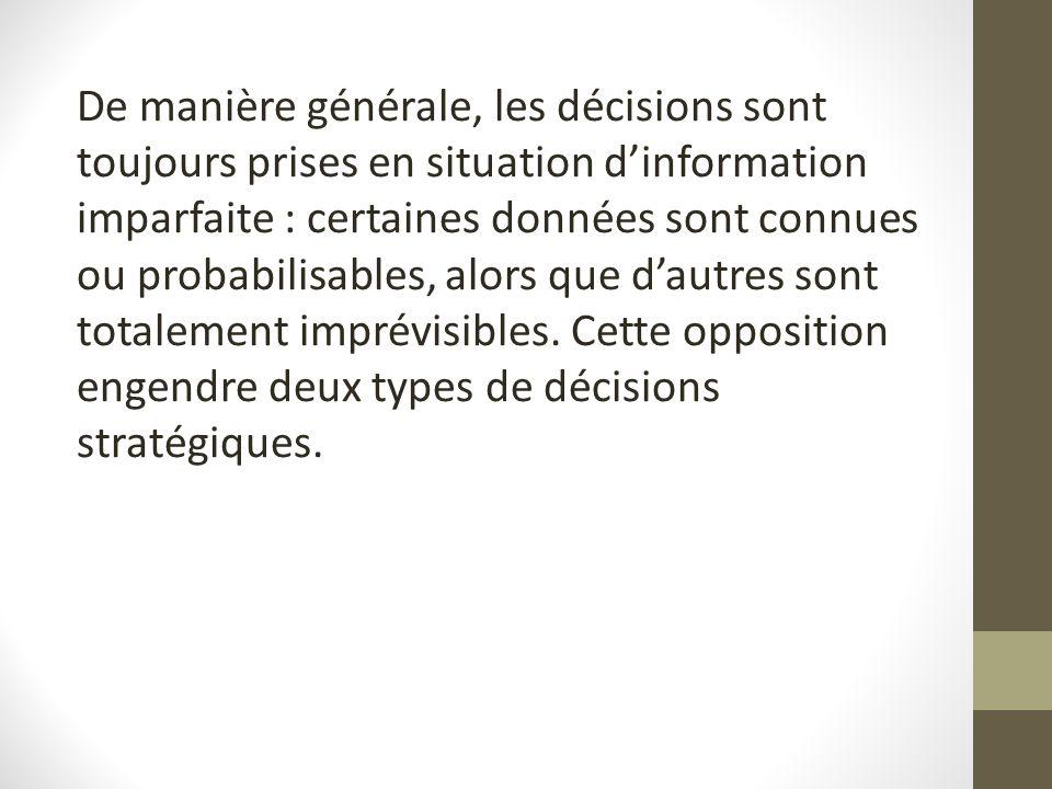 De manière générale, les décisions sont toujours prises en situation d'information imparfaite : certaines données sont connues ou probabilisables, alors que d'autres sont totalement imprévisibles.