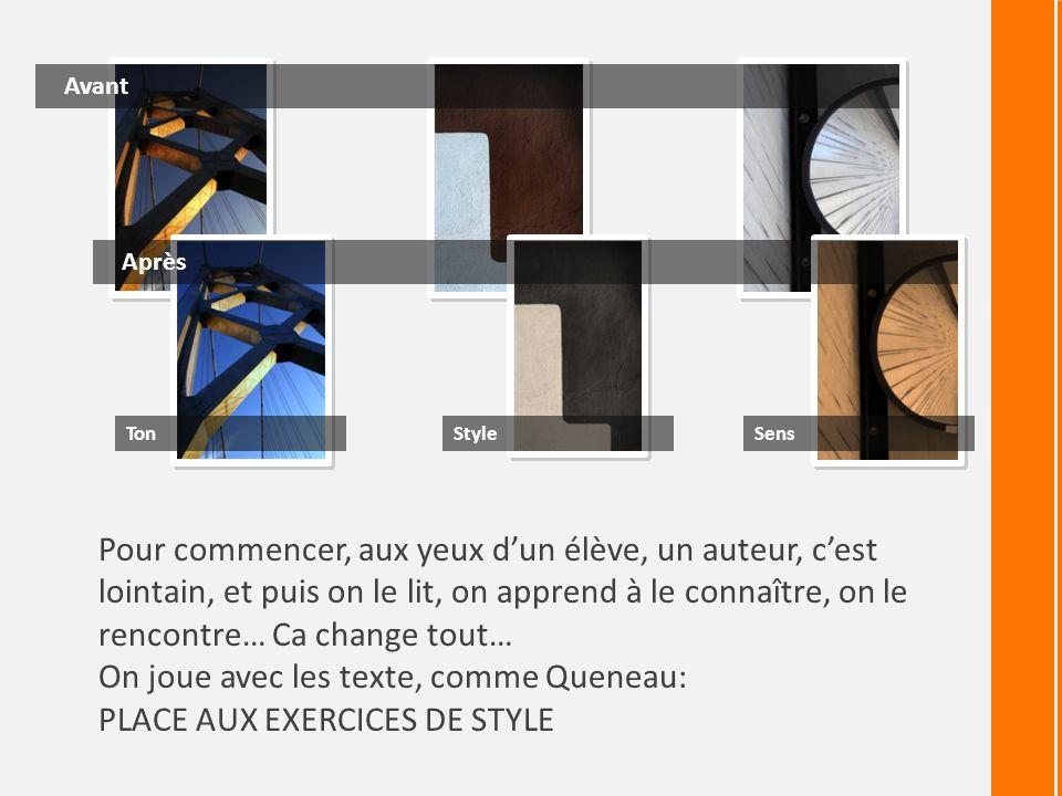 On joue avec les texte, comme Queneau: PLACE AUX EXERCICES DE STYLE