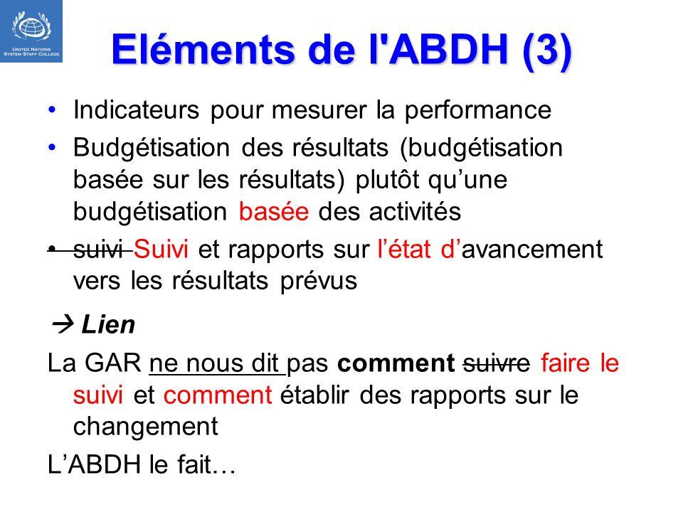 Eléments de l ABDH (3) Indicateurs pour mesurer la performance