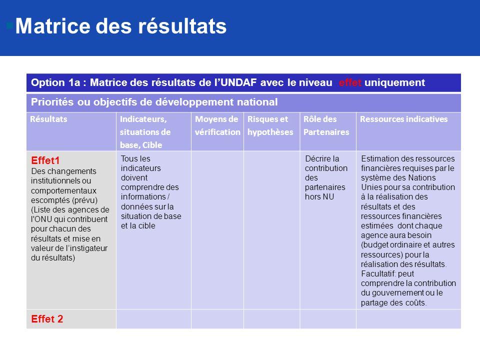 Matrice des résultats Option 1a : Matrice des résultats de l'UNDAF avec le niveau effet uniquement.