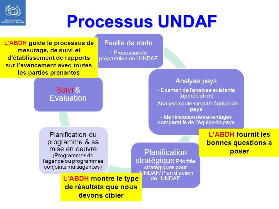 Processus UNDAF L'ABDH guide le processus de mesurage, de suivi et d'établissement de rapports sur l'avancement avec toutes les parties prenantes.