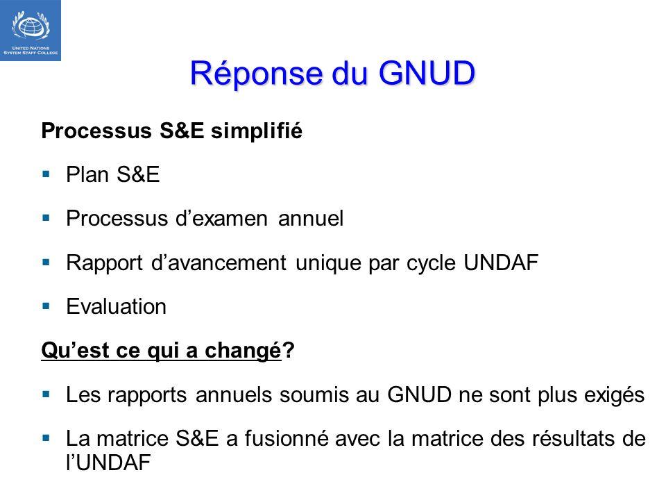 Réponse du GNUD Processus S&E simplifié Plan S&E