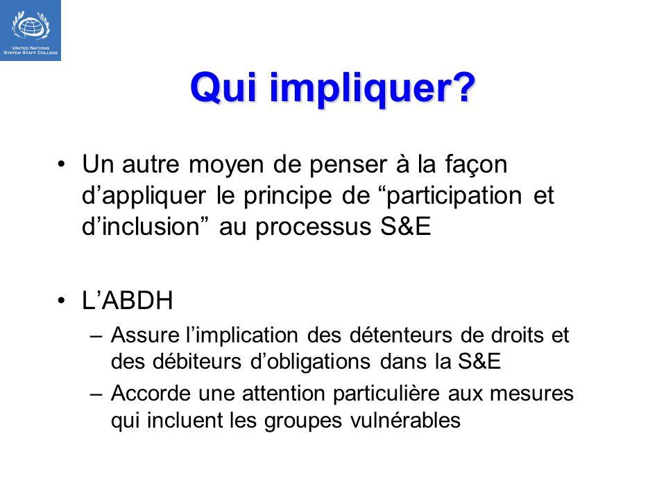 Qui impliquer Un autre moyen de penser à la façon d'appliquer le principe de participation et d'inclusion au processus S&E.