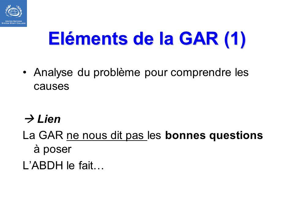 Eléments de la GAR (1) Analyse du problème pour comprendre les causes